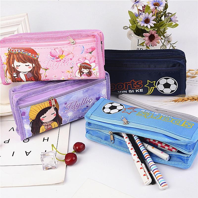 4Creativity cute cartoon canvas pen bag for men and women simple double pencil case school office pen bag stationery bag pen bag