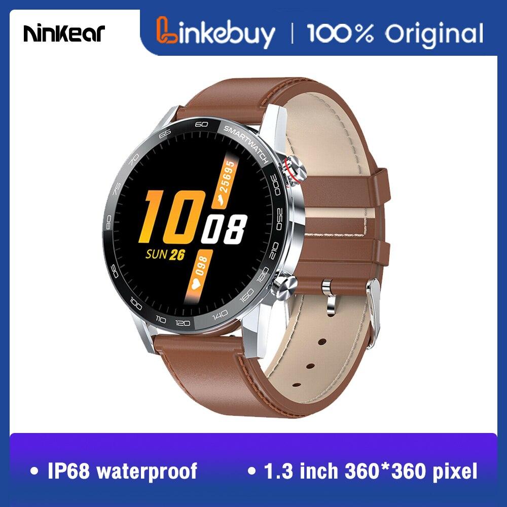 2021 nova ninkear l16 relógio inteligente para homens ecg pressão arterial esporte relógio 360 * 360ips ip68 à prova dip68 água