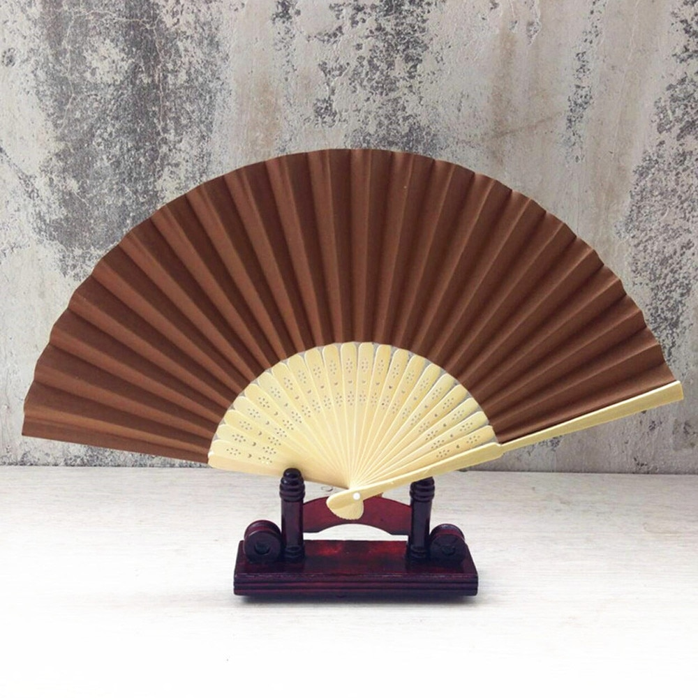 Chino ventilador plegable Original mano de madera de bambú ventilador de bolsillo...