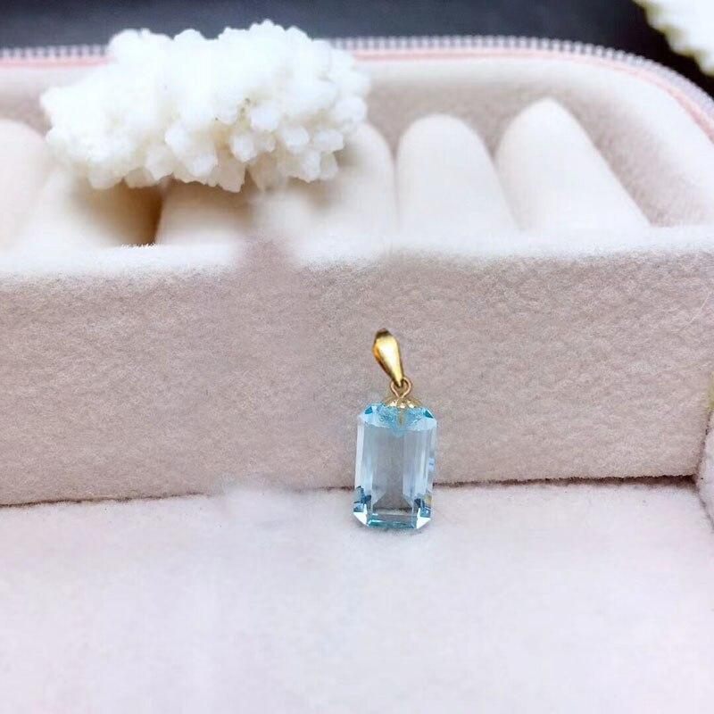 Shilovem 18k ouro amarelo real natural topázio pingentes clássico jóias finas feminino nenhum colar novo presente 6*10mm mz0610888b