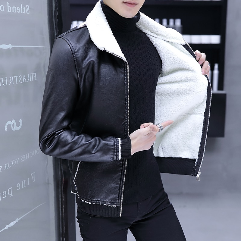 Autumn Winter Pop Leather Jacket Men  Fur One Thick Leather Jacket Men Warm Large Size 5XL Slim Short Leather Jacket Coats