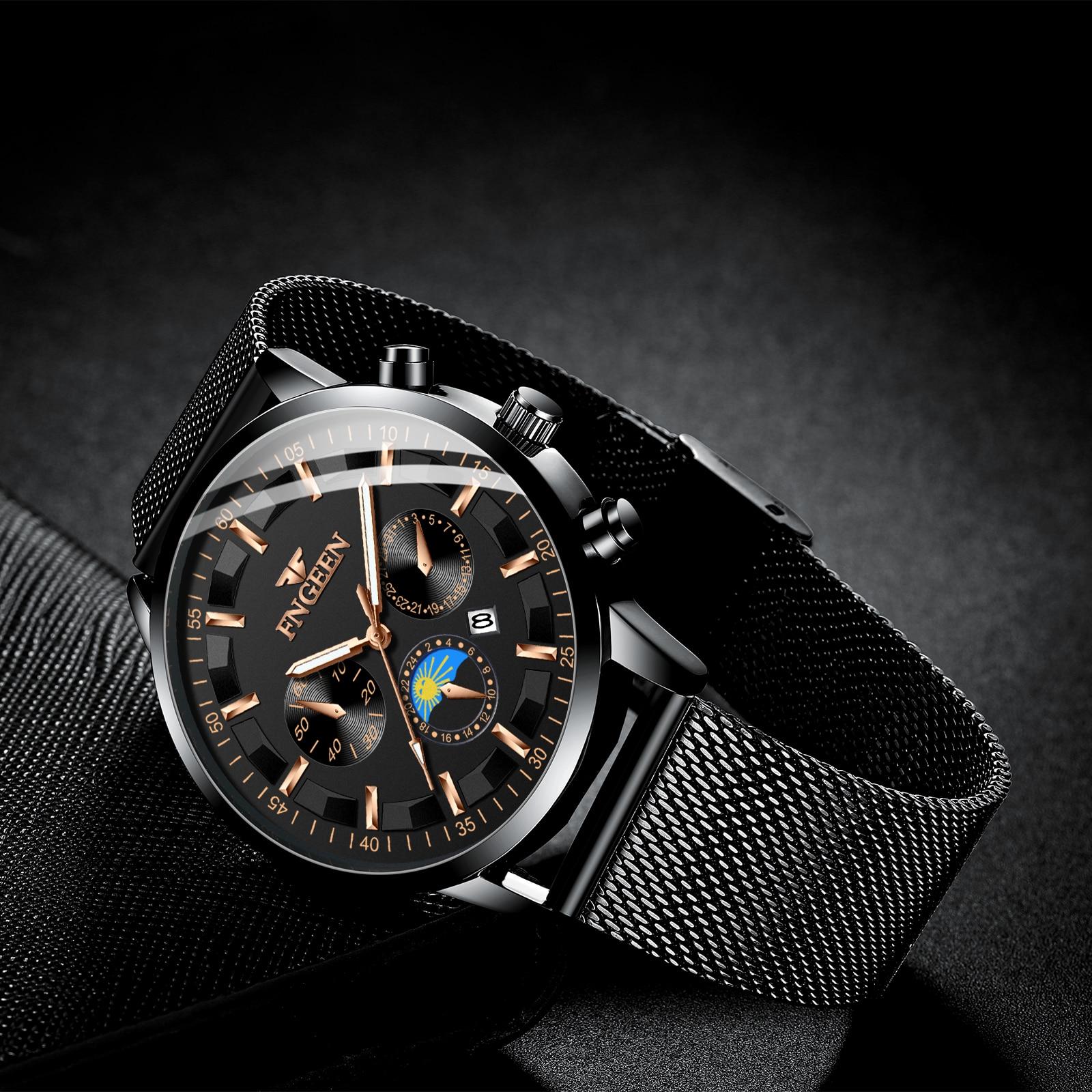 2021 New Fashion Mens Watches with Stainless Steel Top Brand Luxury Sports Quartz Watch men's watch wristwatch