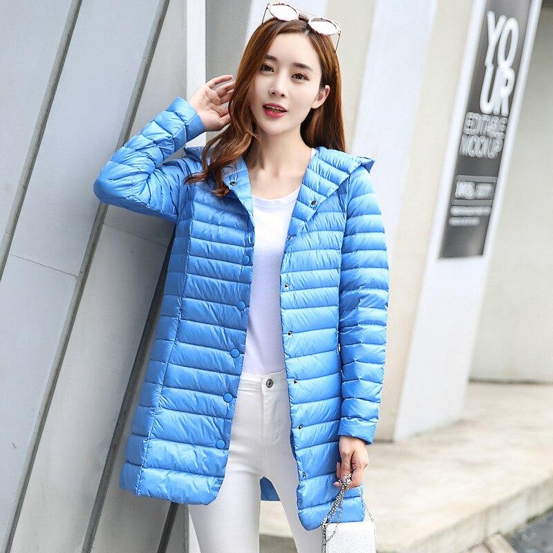 2020 Otoño Invierno chaqueta mujer pato abajo Delgado Parkas señoras abrigo caliente largo con capucha de talla grande Ultra ligero abrigos