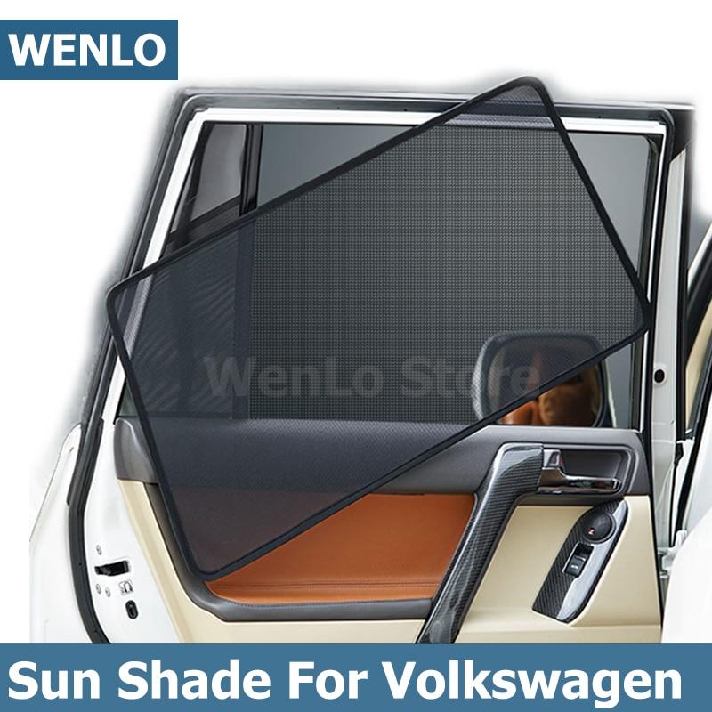 WENLO 4 Uds Coche magnético parasol de ventana lateral para Volkswagen Touran L Tiguan Toureg T-ROC POLO PHEV Phideon Tharu