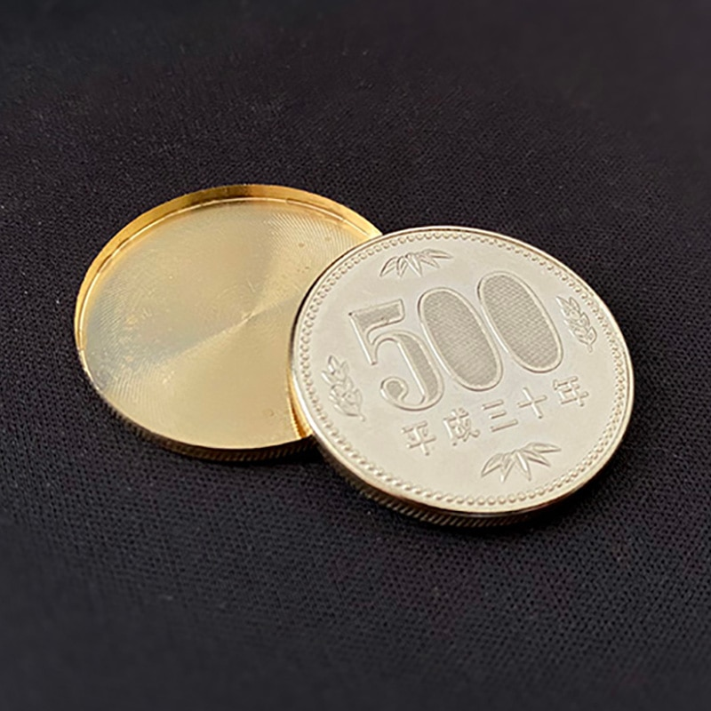 Expanded Shell Japan 500 Yen (Brass, Gilded) Magic Tricks Coin Magia Magician Close Up Street Illusions Gimmicks Mentalism Props недорого