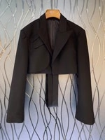 2021 new women fashion lapel solid color decoration long sleeved all match short blazer 812