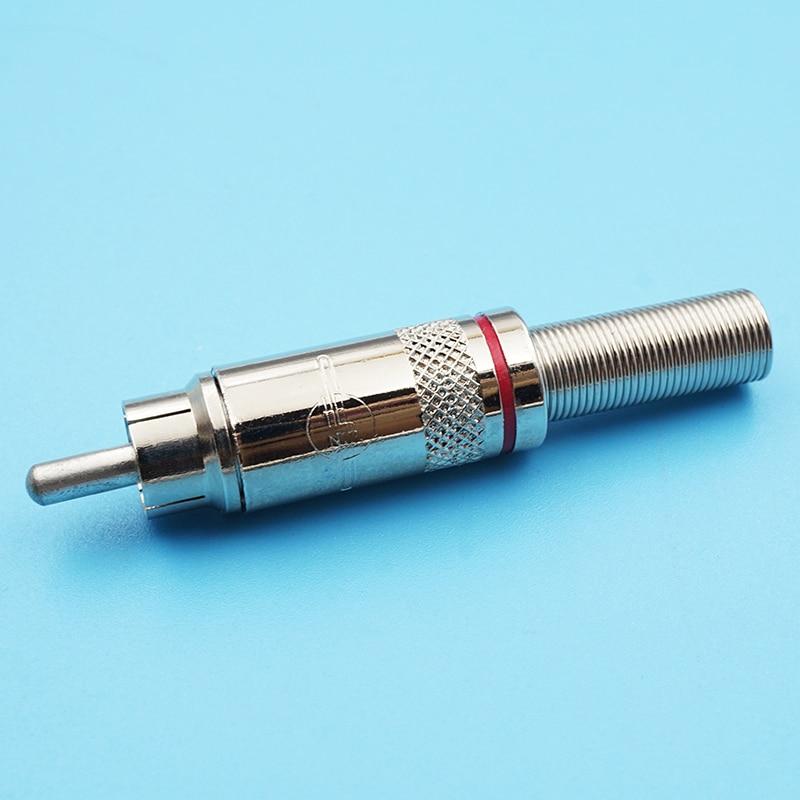 50 قطعة/الوحدة النيكل مطلي الأسلاك RCA المكونات المعدنية الذكور جاك لحام RCA موصل AV الصوت الفيديو مكبر للصوت المكونات موصل الأحمر