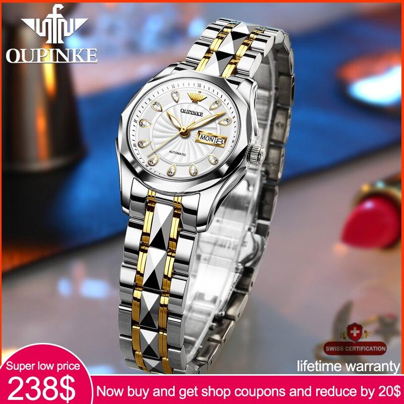 OUPINKE Top Luxury Women Wristwatch Automatic Mechanical Waterproof Watches Sapphire Mirror Tungsten Steel Watchstrap Lady Watch