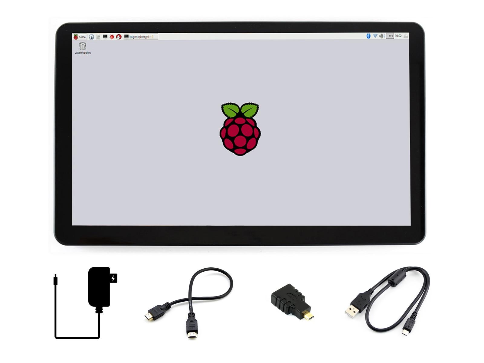 شاشة عرض HDMI LCD باللمس 15.6 بوصة IPS 1920*1080 مع غطاء زجاجي مقوى لأجهزة راسبيري بي بي بي أسود عام