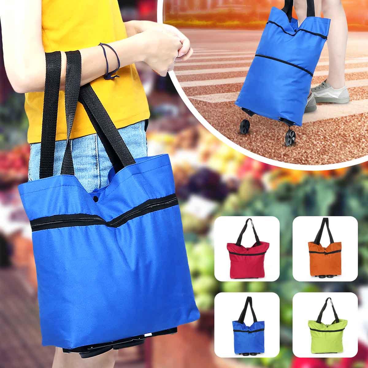 Bolso plegable colorido del carro de la compra de las mujeres bolso del carro de compra portátil con las ruedas carro plegable que rueda supermercado