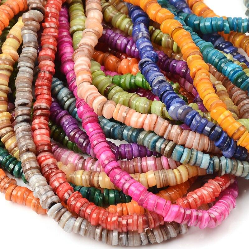 Cuentas de concha de mar Natural para fabricación de joyas, espaciador suelto...