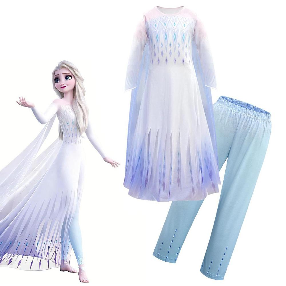 2020 New Anna Elsa 2 Girl Dress Halloween Set Cosplay Birthday Party White Princess Dress Mask Wig Magic Wand Crown Set