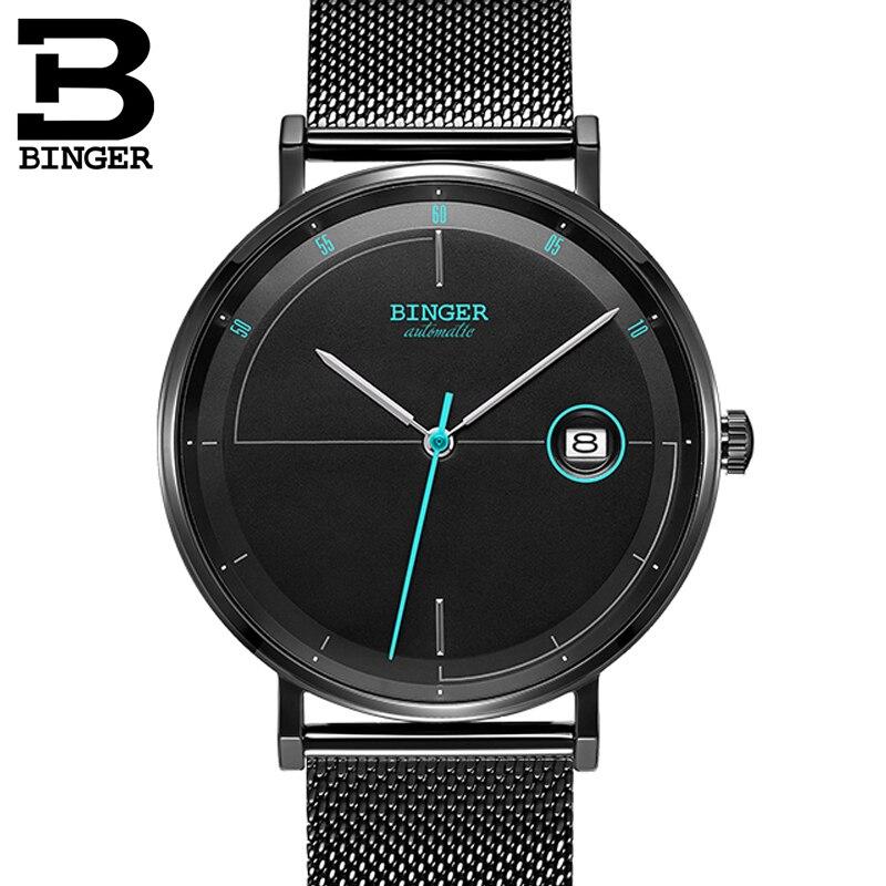Relojes para hombres de Suiza BINGER marca de lujo movimiento japonés reloj para hombres automático mecánico zafiro fecha automática