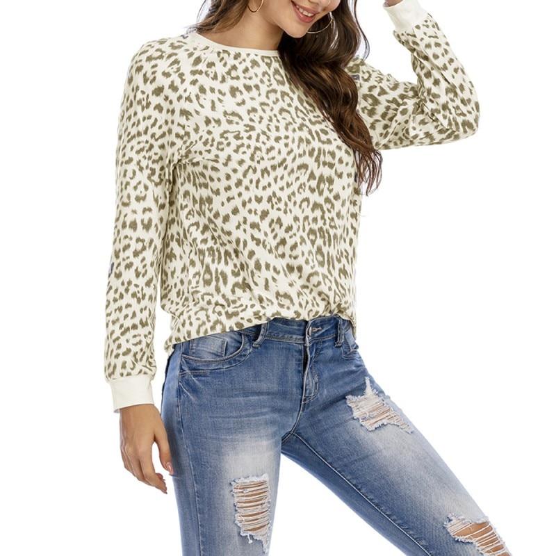 Женская футболка с длинным рукавом, Повседневная Длинная футболка с круглым вырезом и леопардовым принтом, весна-лето 2021