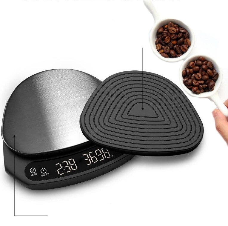 مقياس القهوة الرقمية مقياس المطبخ شاشة الكريستال السائل 0.1g ميزان المطبخ الفولاذ المقاوم للصدأ دقيقة مع توقيت السيارات تحديد الموقع وزنها