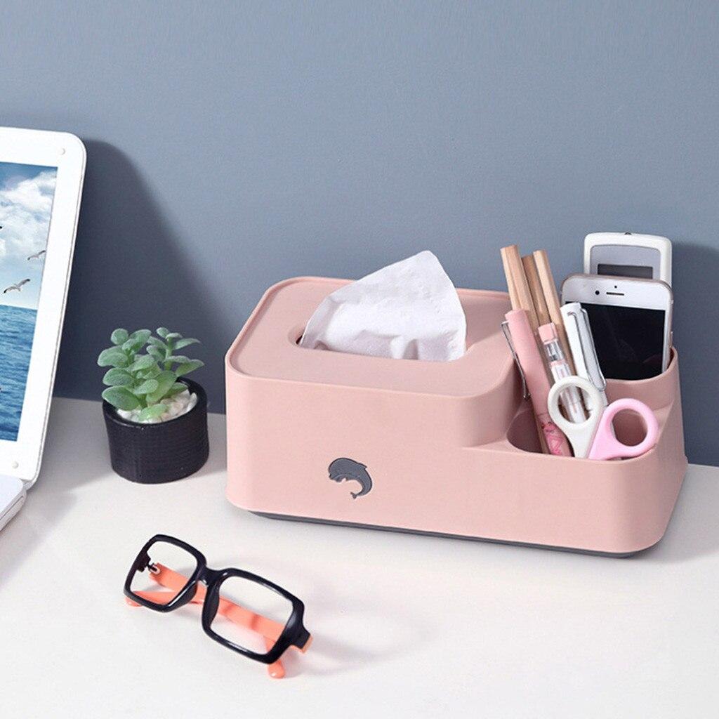 Caja de pañuelos de almacenamiento creativo para el hogar Escritorio de dibujos animados delfín bandeja de bombeo de plástico moda de ocio Simple práctica comodidad