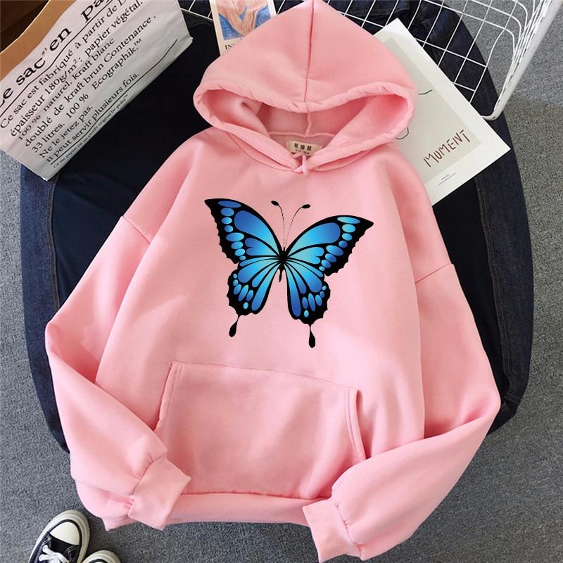 drawstring queen print hoodie Autumn Women's Hoodie Casual Pocket Pullover Butterfly Print Fashion Loose Elegant Men's Sweater Drawstring Couple Sweatshirt