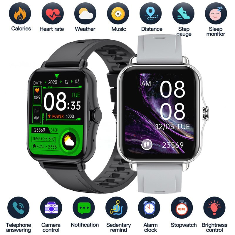 Smart Watch 1.69 Inch Sport Pedometer Smartwatch Men Women Sleep Body Temperature Heart Rate Monitor