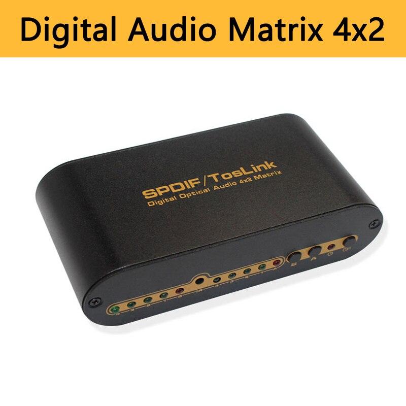 Matriz de Audio Digital 4x2 Switcher SPDIF Toslink divisor óptico Digital de alta calidad 4 en 2 out