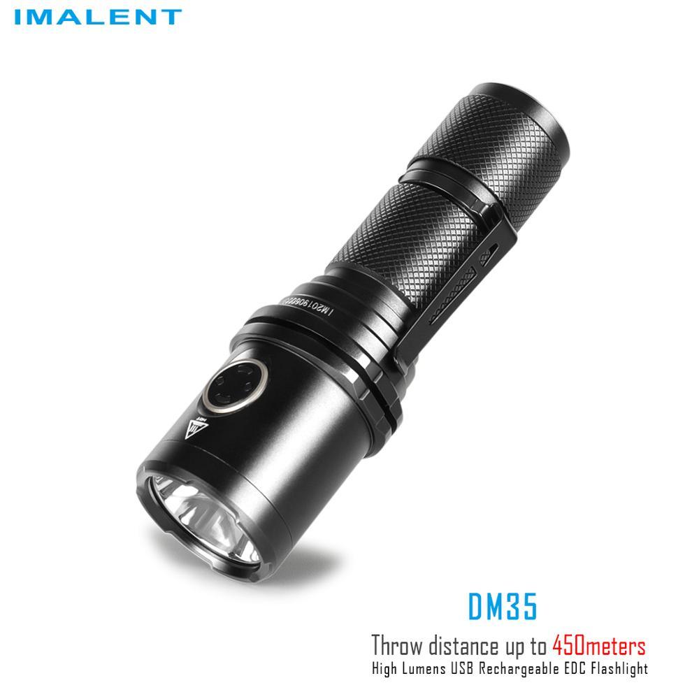 IMALENT DM35 Flashlight USB Recharge Lantern Portable 2000 Lumens Outdoor Lighting Cree XHP35 HI with 21700 Battery