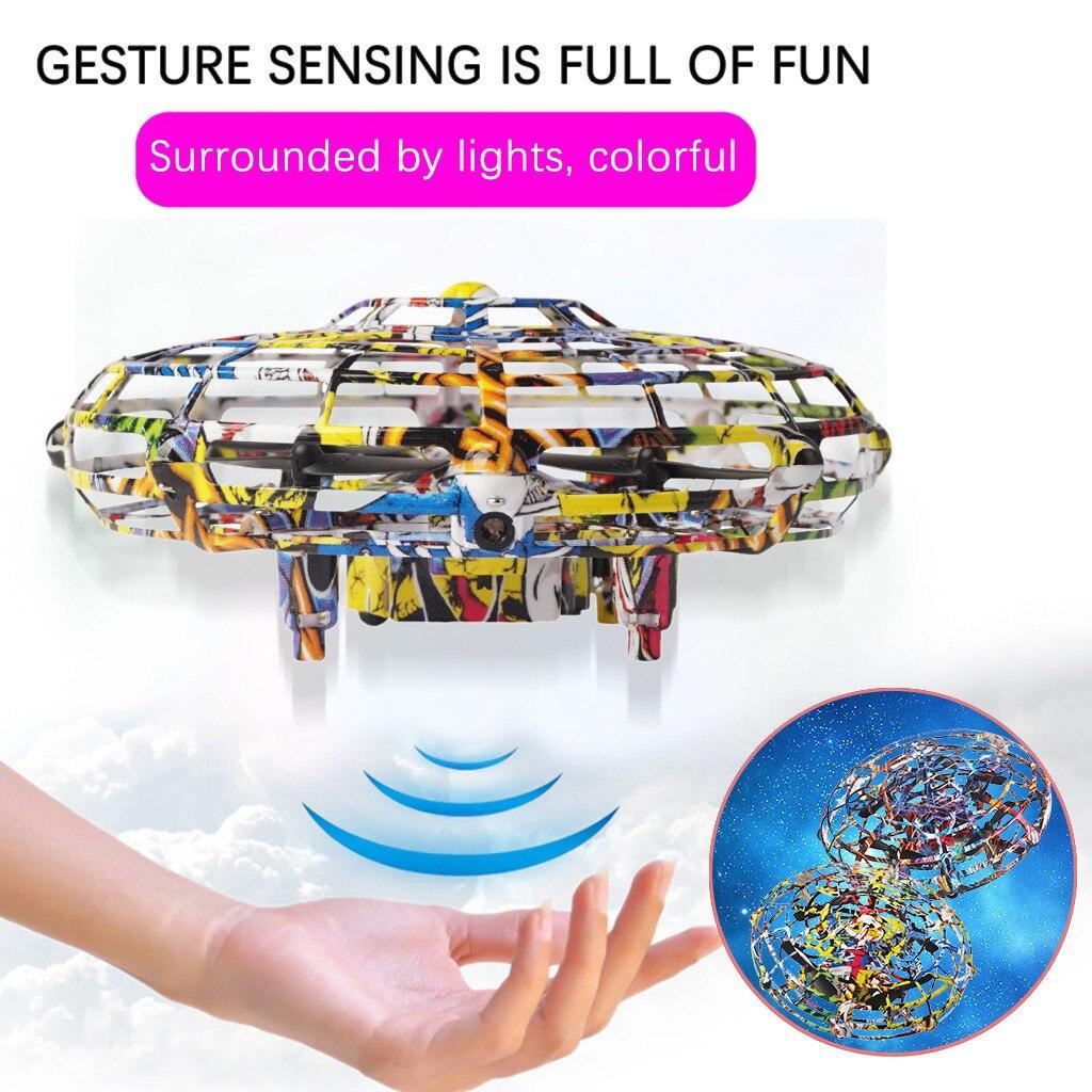 Mini drone brinquedo anticollision sensor de indução mão controlada altitude hold modo ufo zangão coisas estranhas brinquedo para presente das crianças