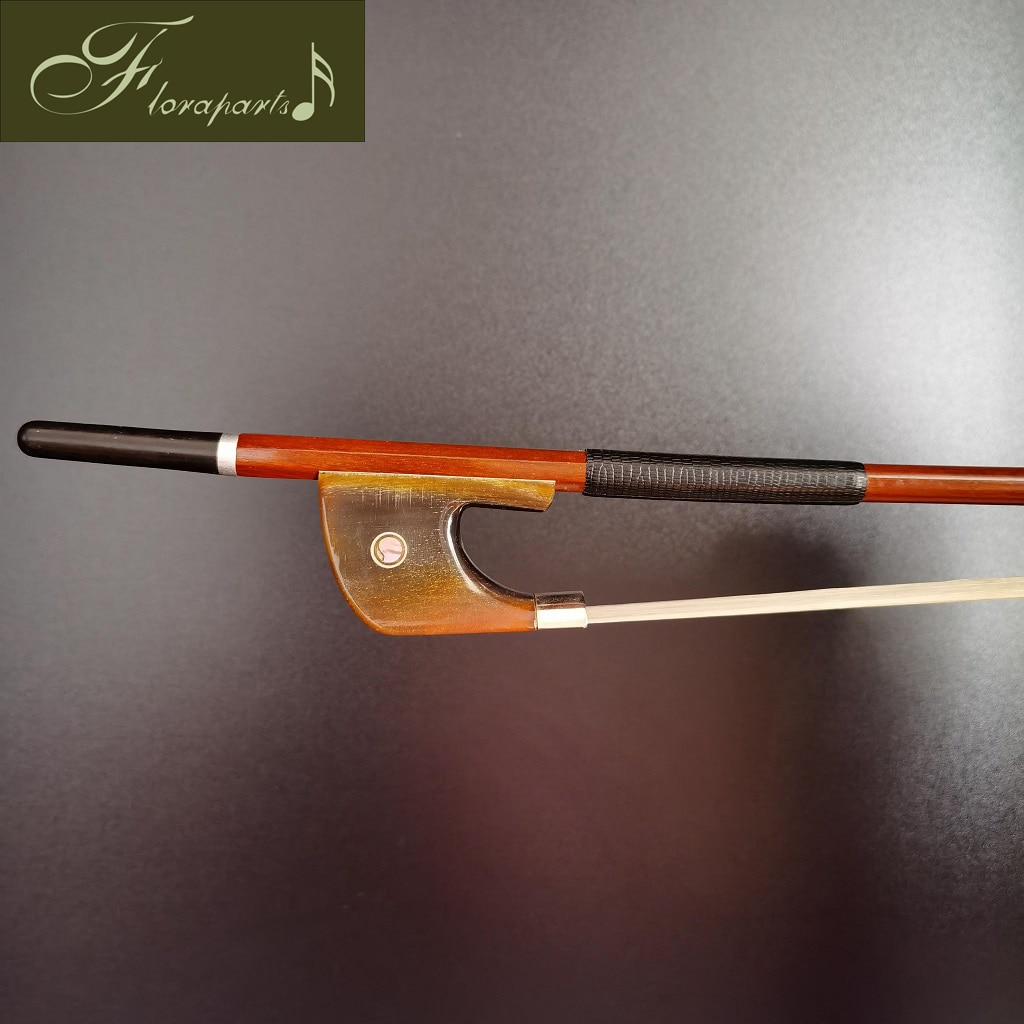 Floraparts 4/4 Size German Style Bass Bow High Quality Brazilwood Round Stick Red -Nickel Silver Parts FPZ027 enlarge