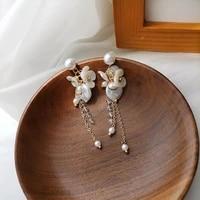 s925 needle delicate jewelry tassel earrings sweet design simulated pearl resin flower drop earrings for girl fine accessories