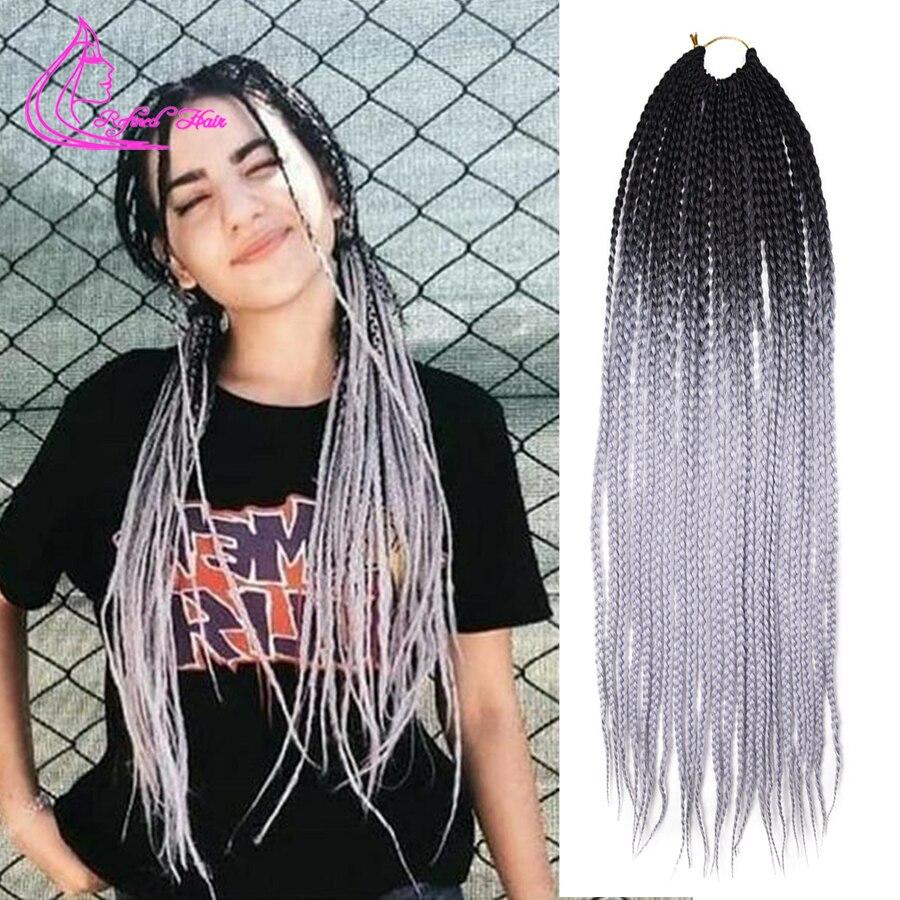 Ręcznie robione pudełko warkocze 24 Cal długa, szydełkowa włosy czarny do szarego różowy kolor Ombre włosy syntetyczne do warkoczy rozszerzenia 22 nici/szt.