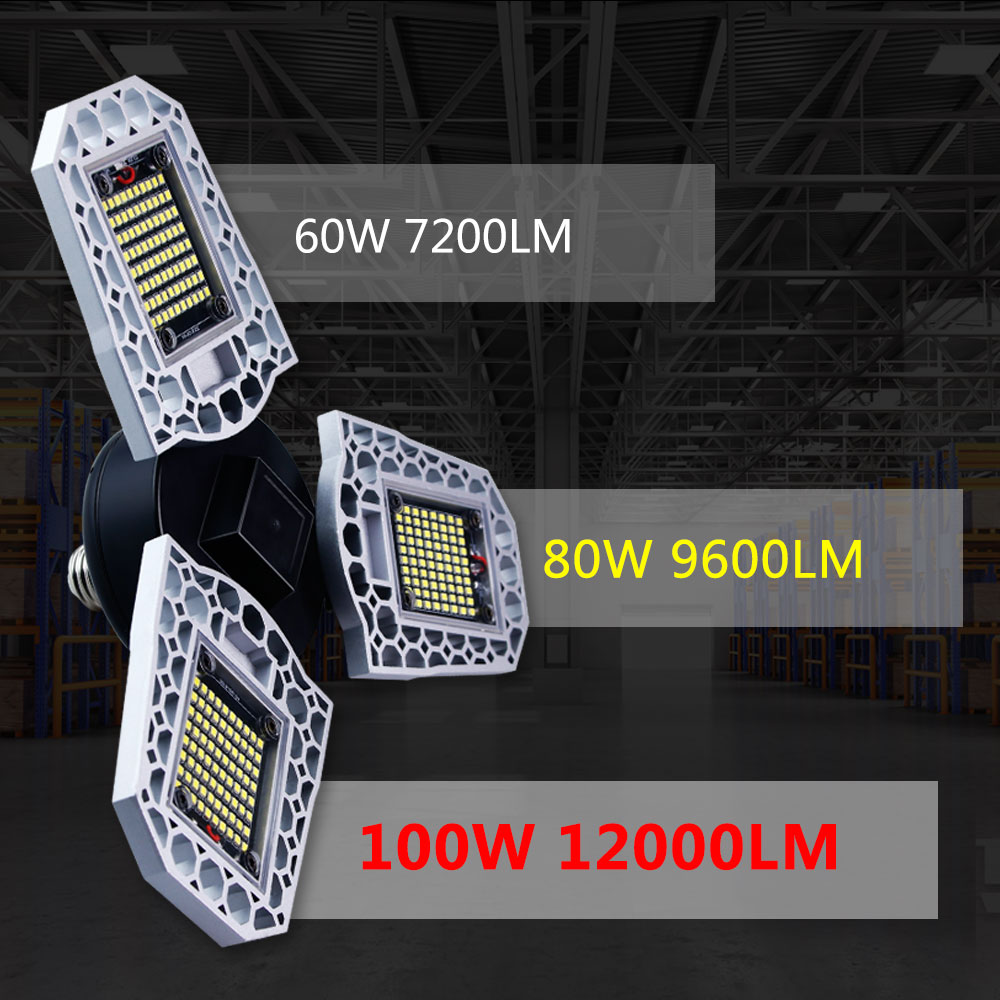 Lampa LED luces E27 bombilla UFO iluminación de garaje Deformable 60W 80W 100W Tienda taller granero