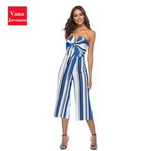 Sexy Bow Tie Strapless Straight Jumpsuits Women Off The Shoulder High Waist Rompers Summer Streetwea