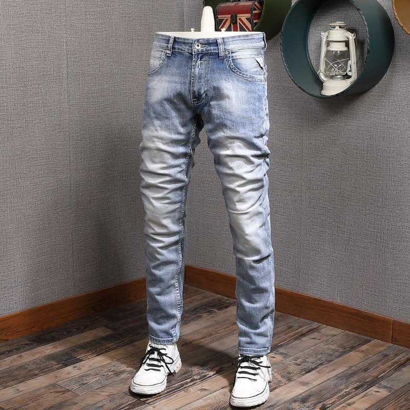 Европейские американские винтажные модные мужские джинсы в стиле ретро светло-голубые зауженные повседневные дизайнерские джинсы мужские...