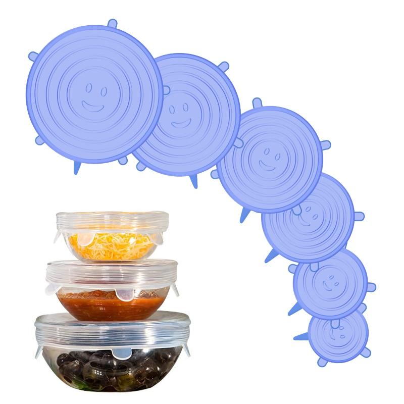 Tapas elásticas de silicona para alimentos, accesorios de herramientas de cocina, cubiertas selladas reutilizables, mantiene la frescura, cubierta de cuenco, 6/12 Uds.