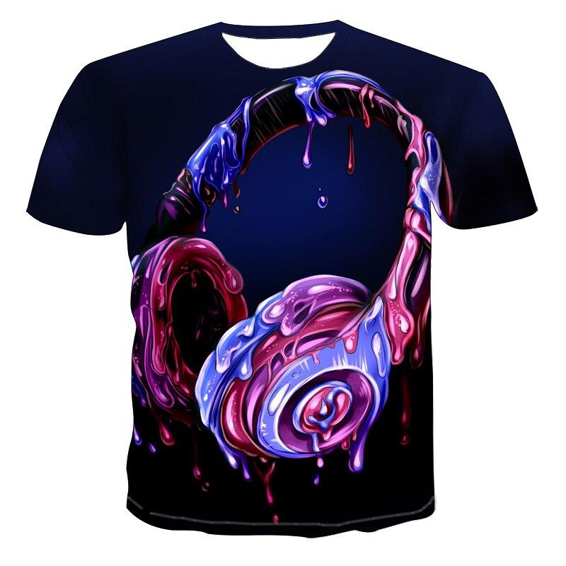 2021 summer 3D print color COOL GUITAR men's T-shirt musical instrument music short sleeve crew neck