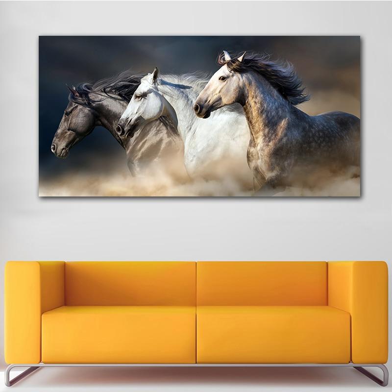 O cavalo correndo arte da lona animais arte da parede poster fotos para sala de estar decoração casa pintura em tela