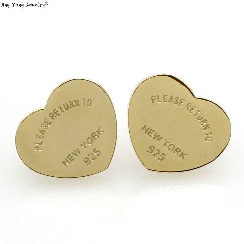 Pendientes de corazón JingYang, pendientes de acero inoxidable en color dorado, de alta calidad, en acero, Inox Hart, pendientes para mujer en oro
