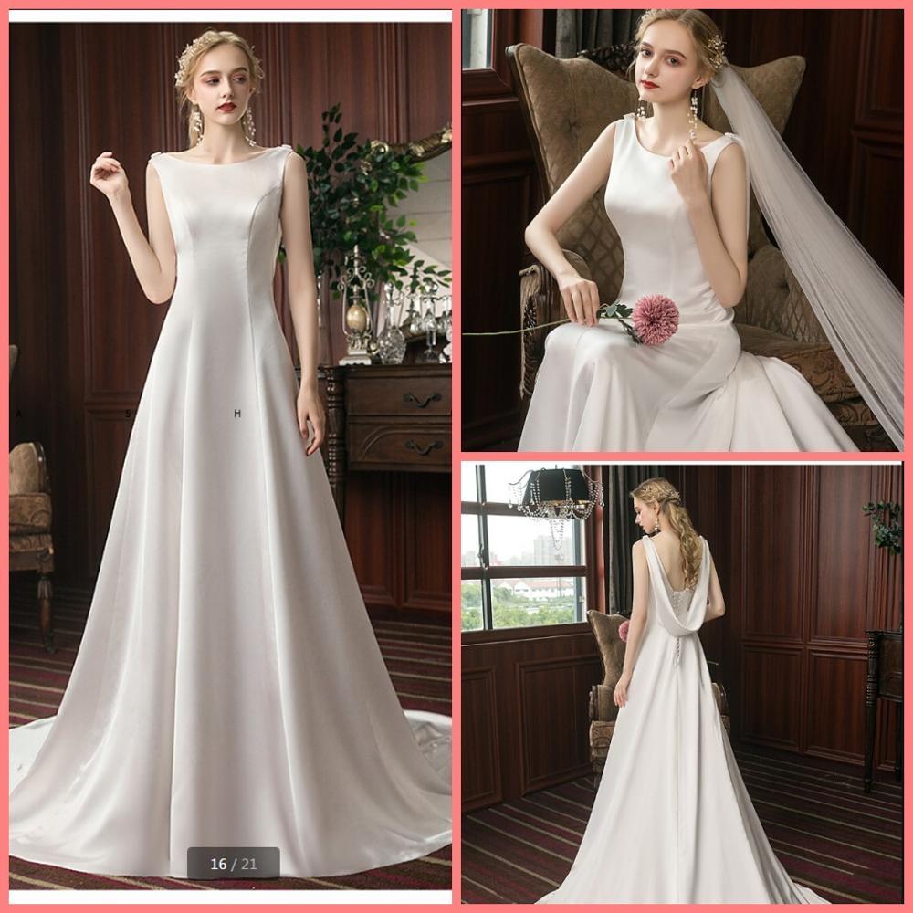 2020 Robe de mariage satin simple a line wedding dresses sleeveless open back sexy scoop neck bride dresses corset dresses