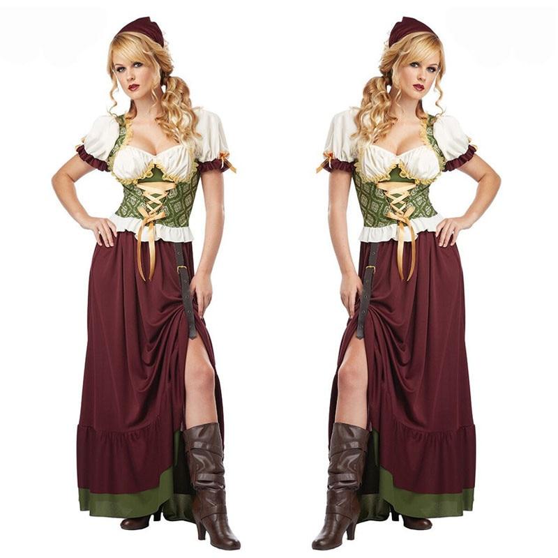 Traditional Bavaria Oktoberfest Costume Beer Maid Girl Wench Fancy Dress  halloween costume for women