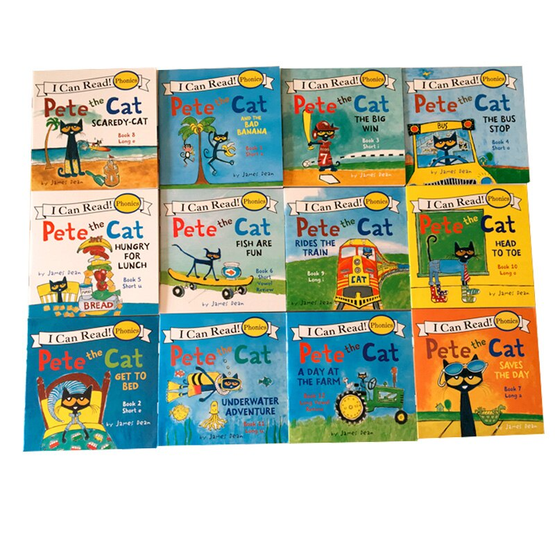 12pcs/set I Can Read Pete The Cat English Picture Books Children Story book Early Educaction Pocket Reading Book 13x13 cm