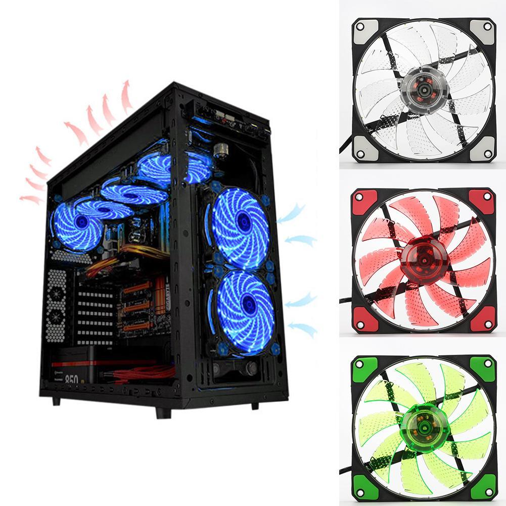120mm LED-Ultra-Silent Computer PC Fall Fan 15 LEDs 12V Cpu Kühlkörper Cooler Master Lüfter DC 12V 4P 3P Stecker