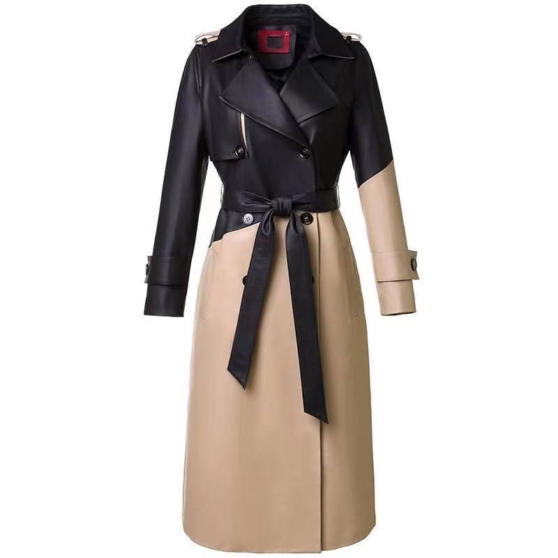 حقيقي جلد الغنم معطف جلد الغزال مع حزام الخريف النساء X-طويلة خندق فستان ملابس خارجية LF21002BM