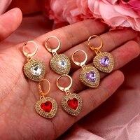 luxury shining double row rhinestones crystal love heart pendant drop earrings for women gold color earring wedding jewelry gift