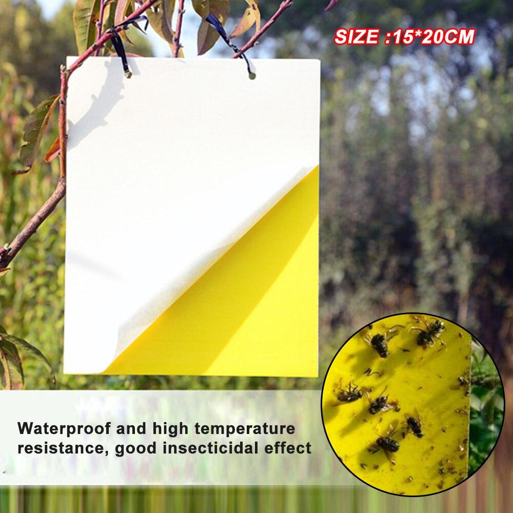 2 pçs 15x20cm amarelo pegajoso papel cola inseto armadilha coletor assassino mosca pulgões vespa lote 3