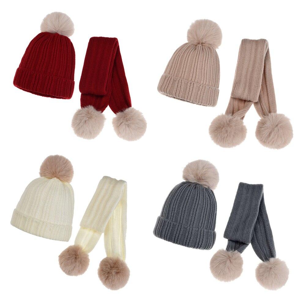 Вязаная Детская зимняя шапка, шарф, детские шапки с меховым помпоном, шапки для девочек, мальчиков, детская облегающая шапочка, семейный Рож...