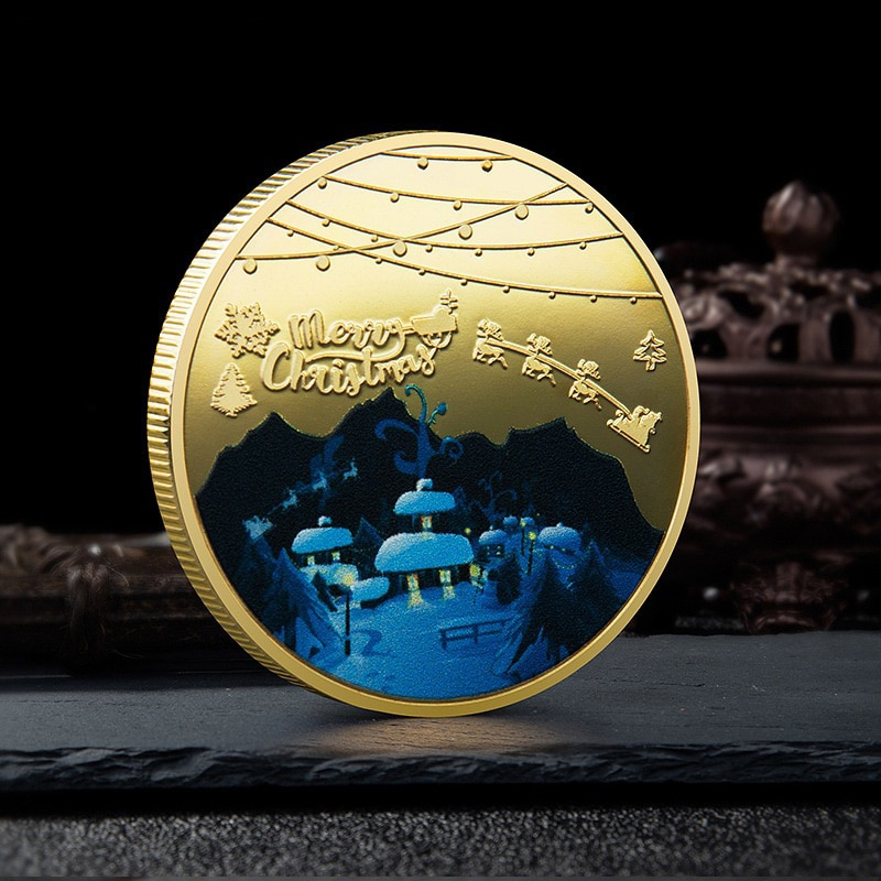 Christmas Commemorative Coin Uv Painted Printing Metal Medallion Gold-plated Silver Badge Gift Souvenir Coins недорого