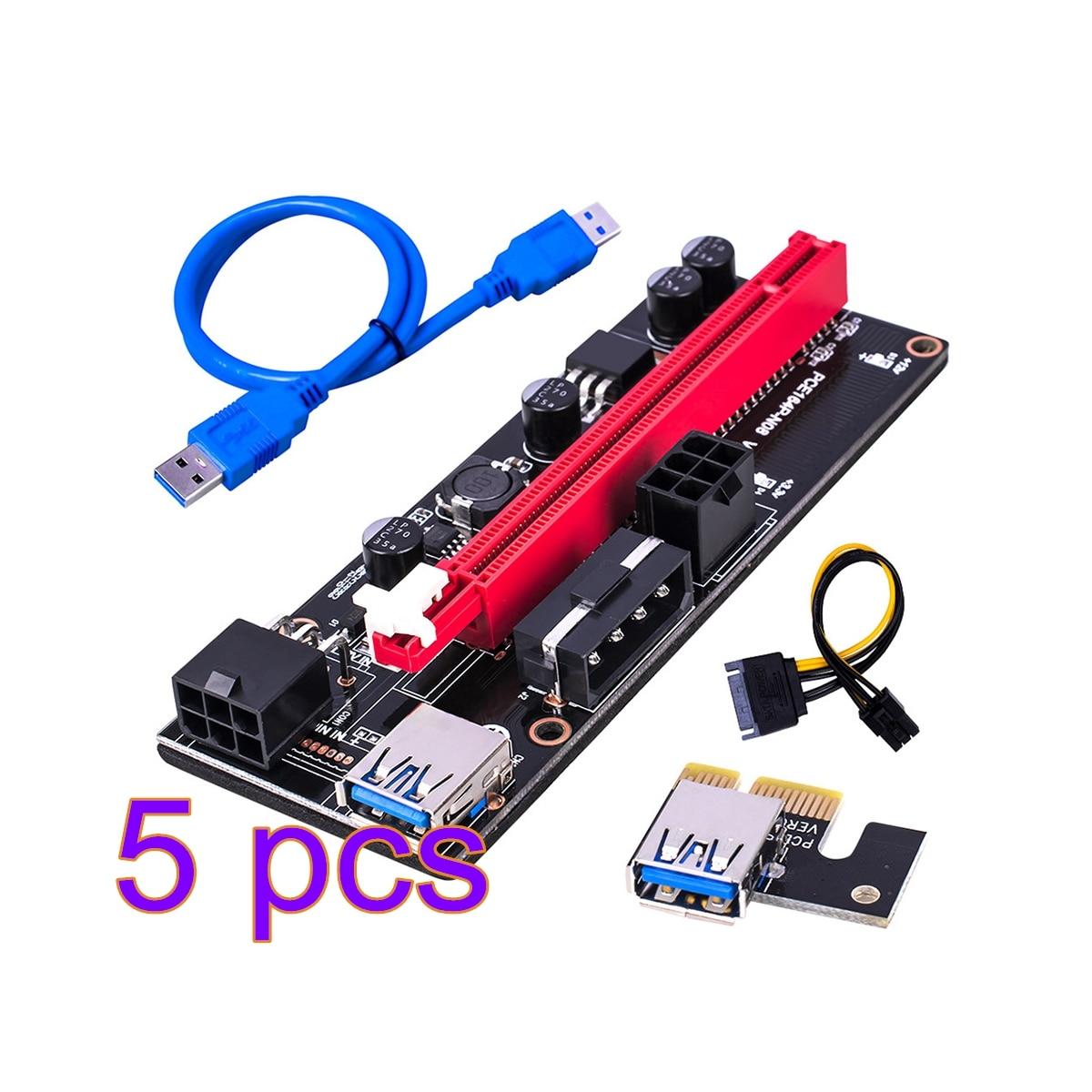 5 قطعة أحدث VER009 USB 3.0 PCI-E الناهض VER 009S Express 1X 4x 8x 16x موسع الناهض محول بطاقة SATA 15pin إلى 6 دبوس كابل الطاقة