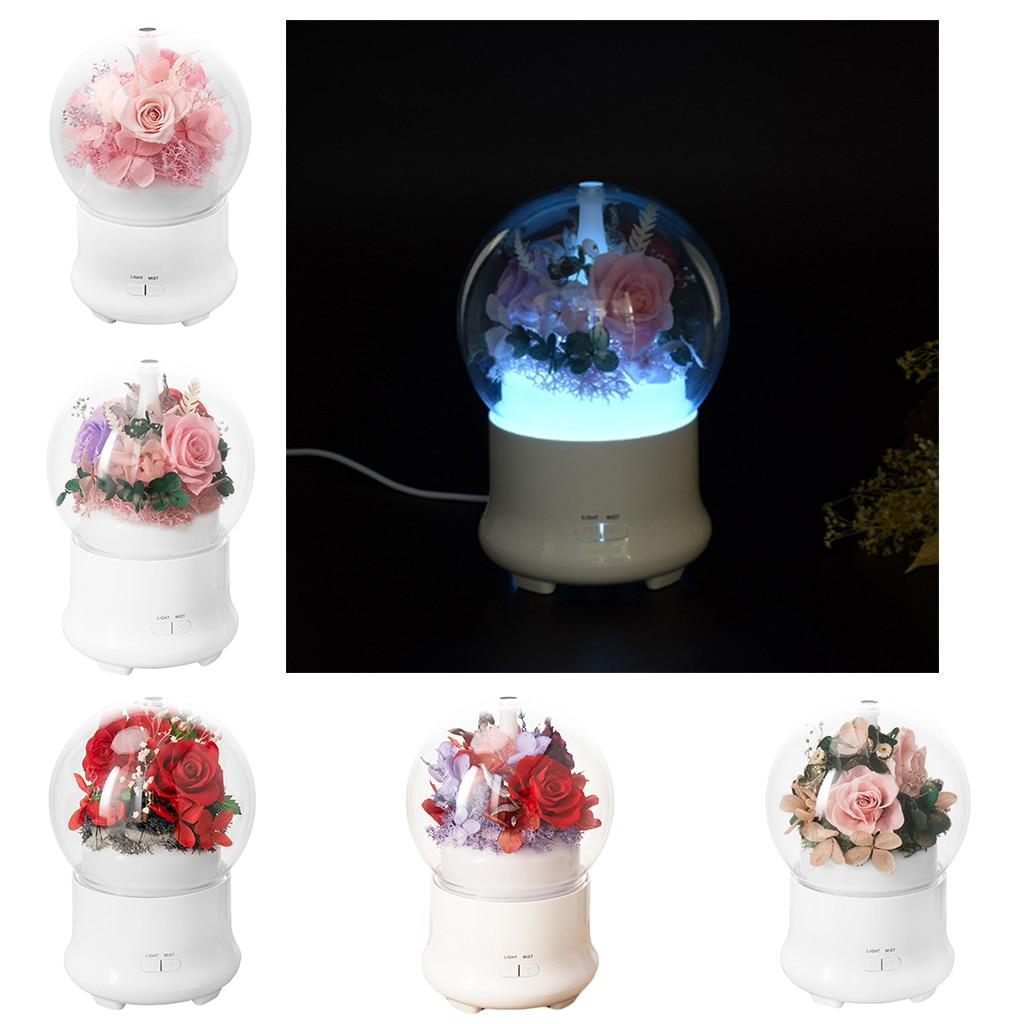 Difusor de aroma floral inmortal, humidificadores de aire de aceite esencial, aromaterapia ultrasónica, de 7 colores luz LED nocturna, regalo de oficina y hogar