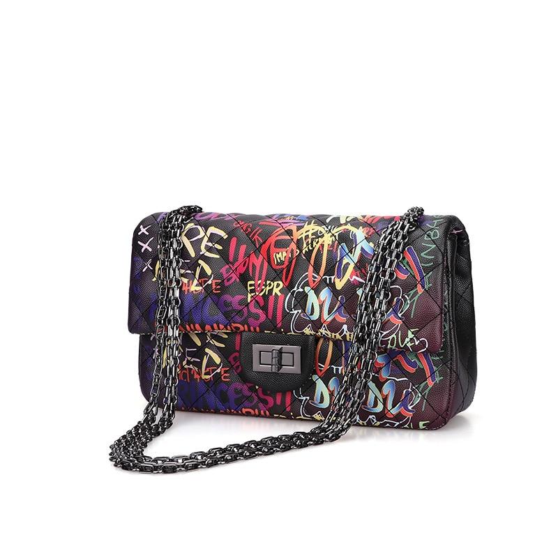 Bolsos cruzados de piel sintética de alta calidad para mujer, bolsos de moda para mujer, bolsos de mano tipo grafiti, bolso de hombro informal para mujer
