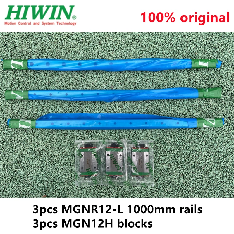 3 قطعة تايوان الأصلي أداة توجيه طولية من هايون السكك الحديدية MGNR12-L 1000 مللي متر + 3 قطعة MGN12H كتل ل 12 مللي متر البسيطة CNC كيت MGN12