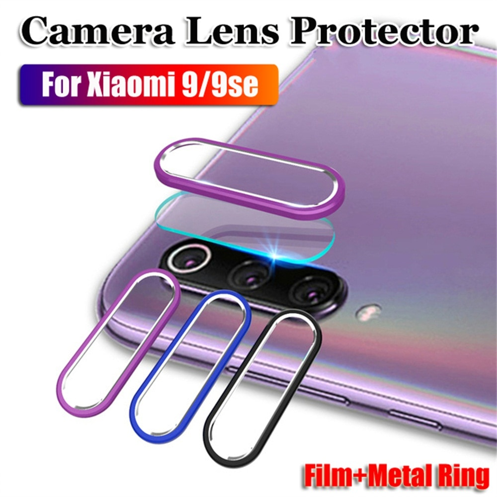 Protetor de câmera de vidro para xiaomi mi 9 se 9se xiami ximi xiomi câmera de metal anel traseiro capa para xiaomi mi9 se mi9se lente filme