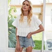 western street personality fashion white solid color and sweet college style cascading ruffle loose short sleeved t shirt tops